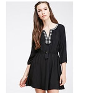 Forever21 black peasant mini dress